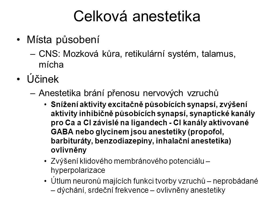 Celková anestetika Místa působení –CNS: Mozková kůra, retikulární systém, talamus, mícha Účinek –Anestetika brání přenosu nervových vzruchů Snížení ak