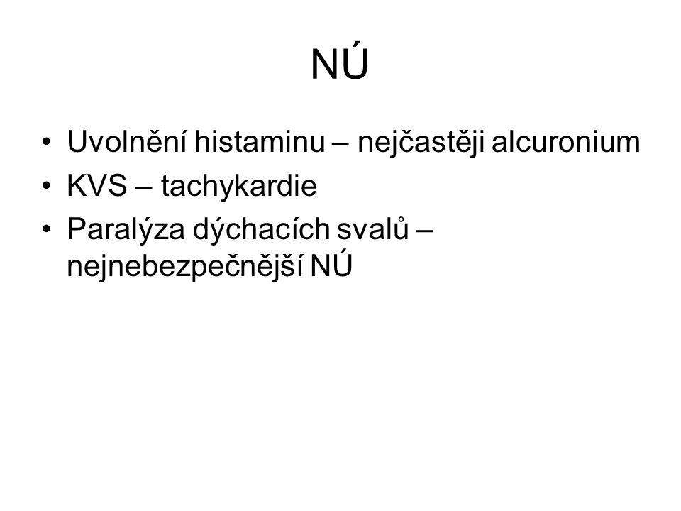 NÚ Uvolnění histaminu – nejčastěji alcuronium KVS – tachykardie Paralýza dýchacích svalů – nejnebezpečnější NÚ