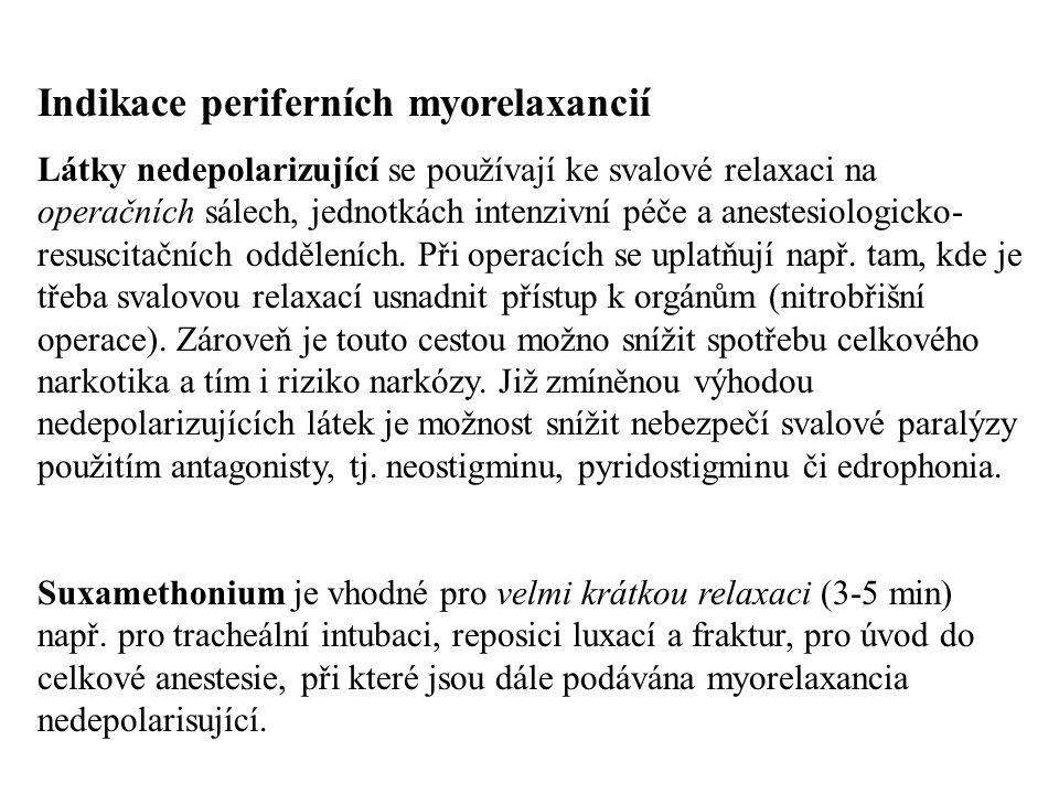 Indikace periferních myorelaxancií Látky nedepolarizující se používají ke svalové relaxaci na operačních sálech, jednotkách intenzivní péče a anestesi