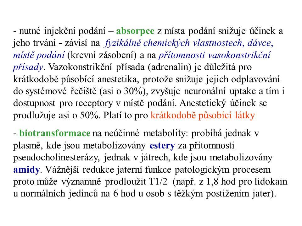 - nutné injekční podání – absorpce z místa podání snižuje účinek a jeho trvání - závisí na fyzikálně chemických vlastnostech, dávce, místě podání (kre