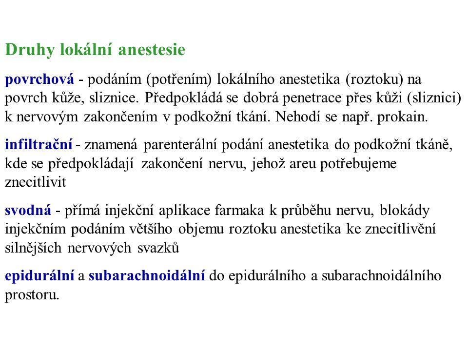 Druhy lokální anestesie povrchová - podáním (potřením) lokálního anestetika (roztoku) na povrch kůže, sliznice. Předpokládá se dobrá penetrace přes ků