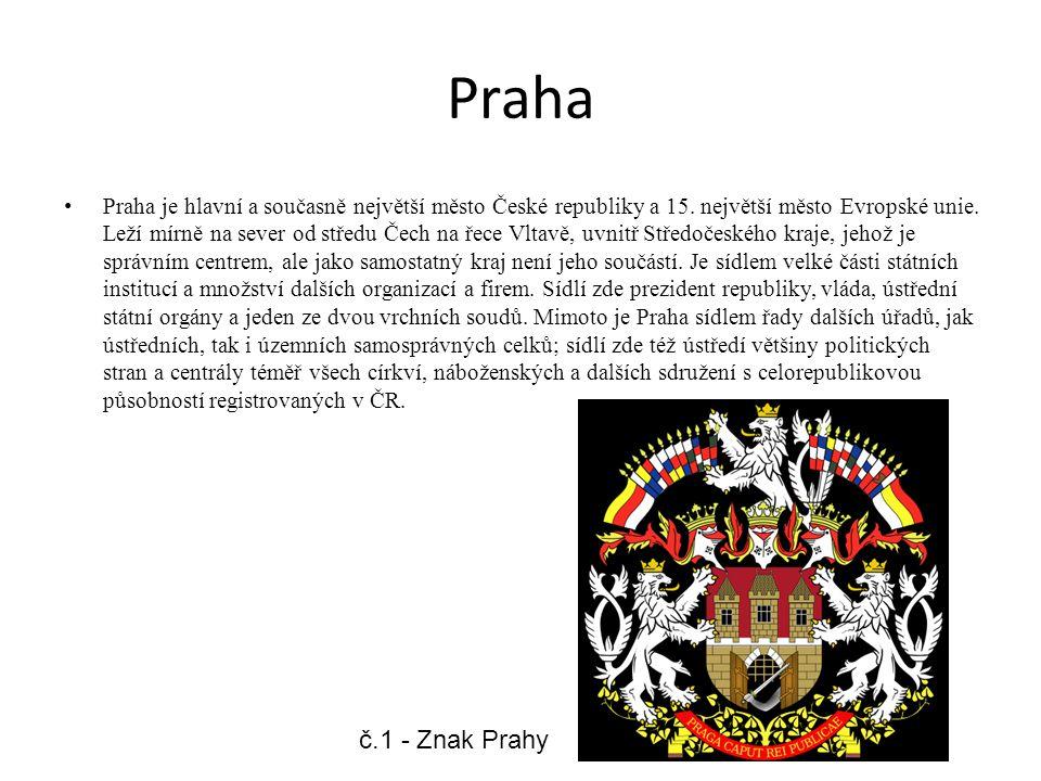 Praha Praha je hlavní a současně největší město České republiky a 15. největší město Evropské unie. Leží mírně na sever od středu Čech na řece Vltavě,
