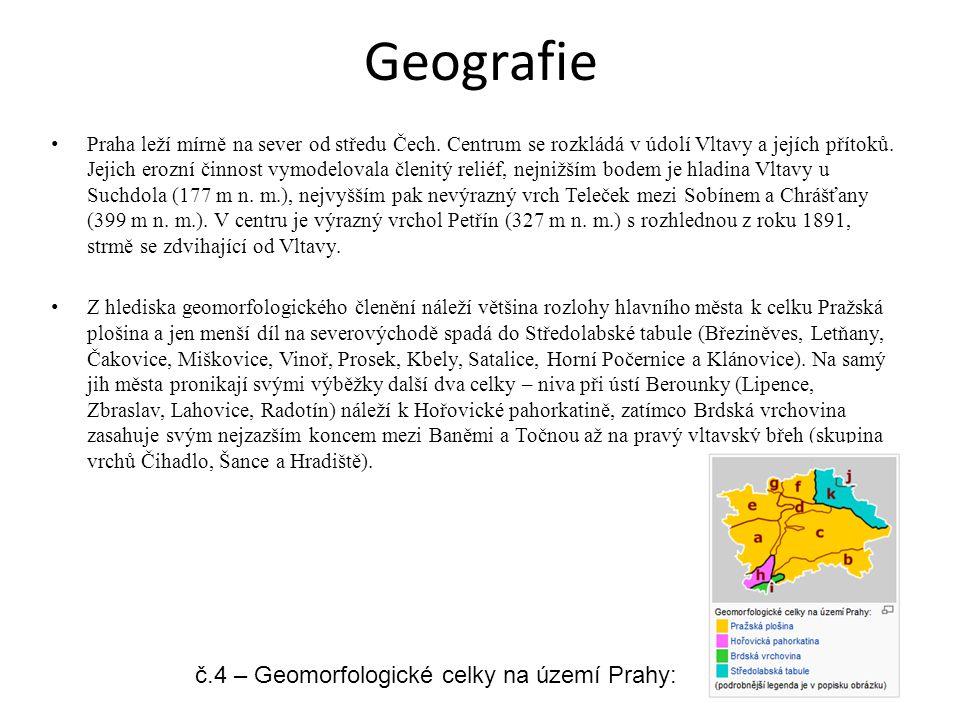 Geografie Praha leží mírně na sever od středu Čech. Centrum se rozkládá v údolí Vltavy a jejích přítoků. Jejich erozní činnost vymodelovala členitý re