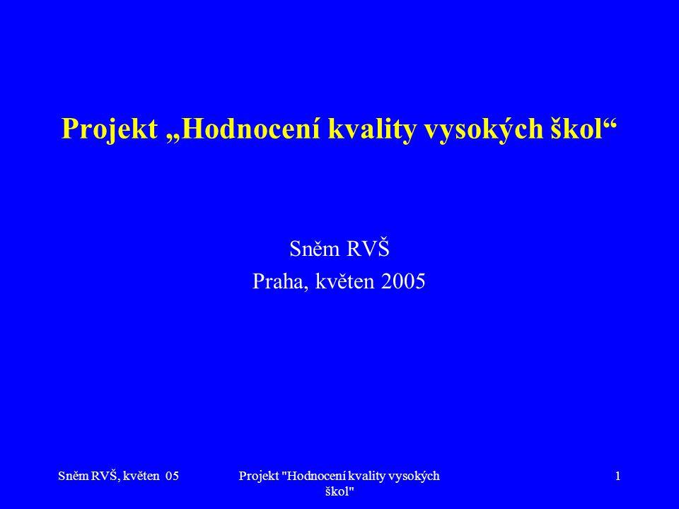 """Sněm RVŠ, květen 05Projekt Hodnocení kvality vysokých škol 1 Projekt """"Hodnocení kvality vysokých škol Sněm RVŠ Praha, květen 2005"""