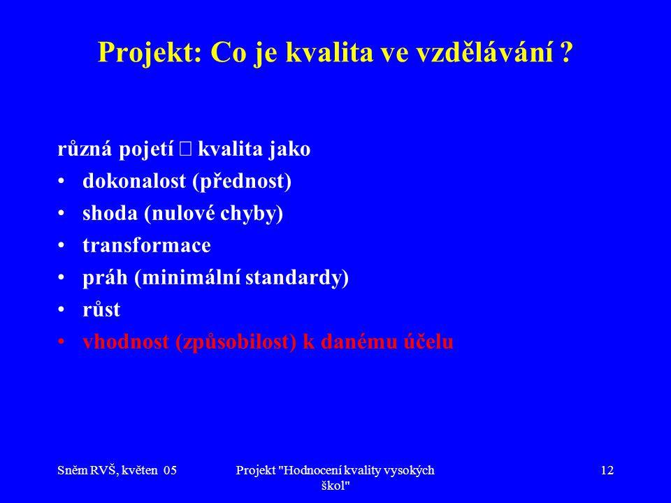 Sněm RVŠ, květen 05Projekt Hodnocení kvality vysokých škol 12 Projekt: Co je kvalita ve vzdělávání .