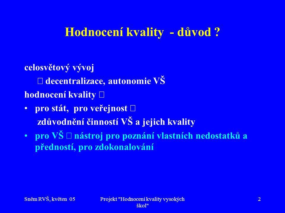 Sněm RVŠ, květen 05Projekt Hodnocení kvality vysokých škol 13 Projekt: Kvalita jako vhodnost (způsobilost) k danému účelu hodnocení kvality  naplňování účelu doplnění pojmu kvality  vhodnost příslušného účelu české podmínky  dlouhodobé záměry vhodnost účelu zajištěna  * projednáním na úrovni státu * schválením příslušnými grémii vysoké školy