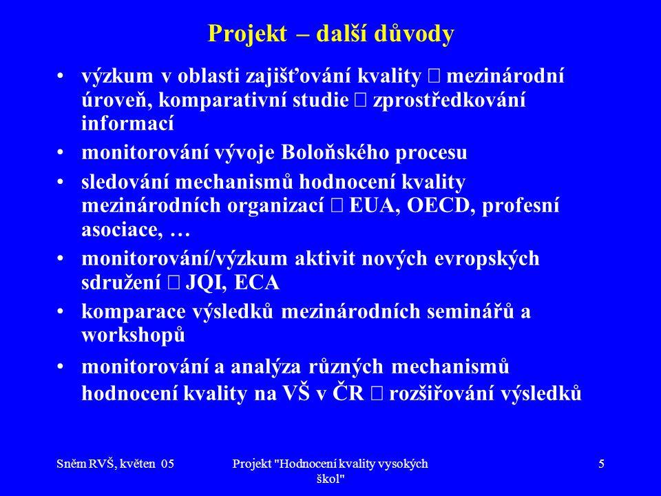 Sněm RVŠ, květen 05Projekt Hodnocení kvality vysokých škol 5 Projekt – další důvody výzkum v oblasti zajišťování kvality  mezinárodní úroveň, komparativní studie  zprostředkování informací monitorování vývoje Boloňského procesu sledování mechanismů hodnocení kvality mezinárodních organizací  EUA, OECD, profesní asociace, … monitorování/výzkum aktivit nových evropských sdružení  JQI, ECA komparace výsledků mezinárodních seminářů a workshopů monitorování a analýza různých mechanismů hodnocení kvality na VŠ v ČR  rozšiřování výsledků