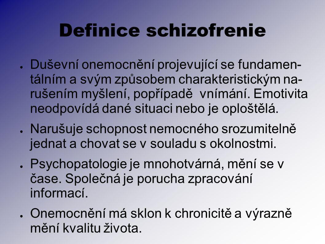 Definice schizofrenie ● Duševní onemocnění projevující se fundamen- tálním a svým způsobem charakteristickým na- rušením myšlení, popřípadě vnímání. E