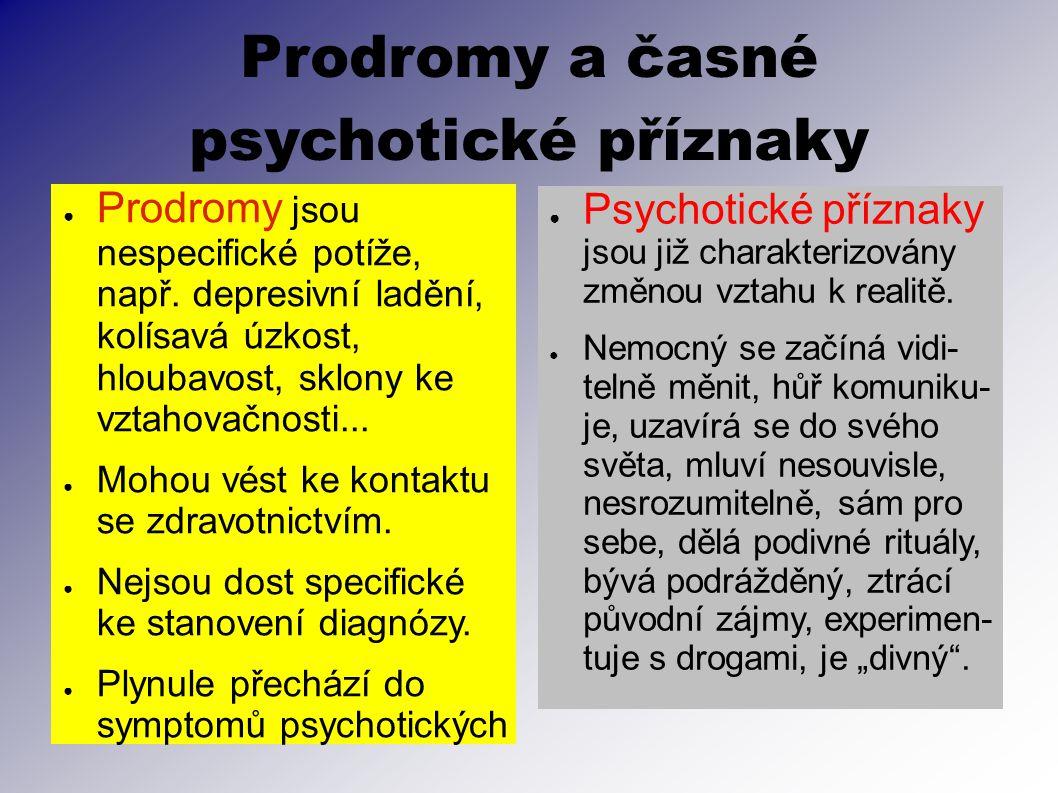 Prodromy a časné psychotické příznaky ● Prodromy jsou nespecifické potíže, např. depresivní ladění, kolísavá úzkost, hloubavost, sklony ke vztahovačno