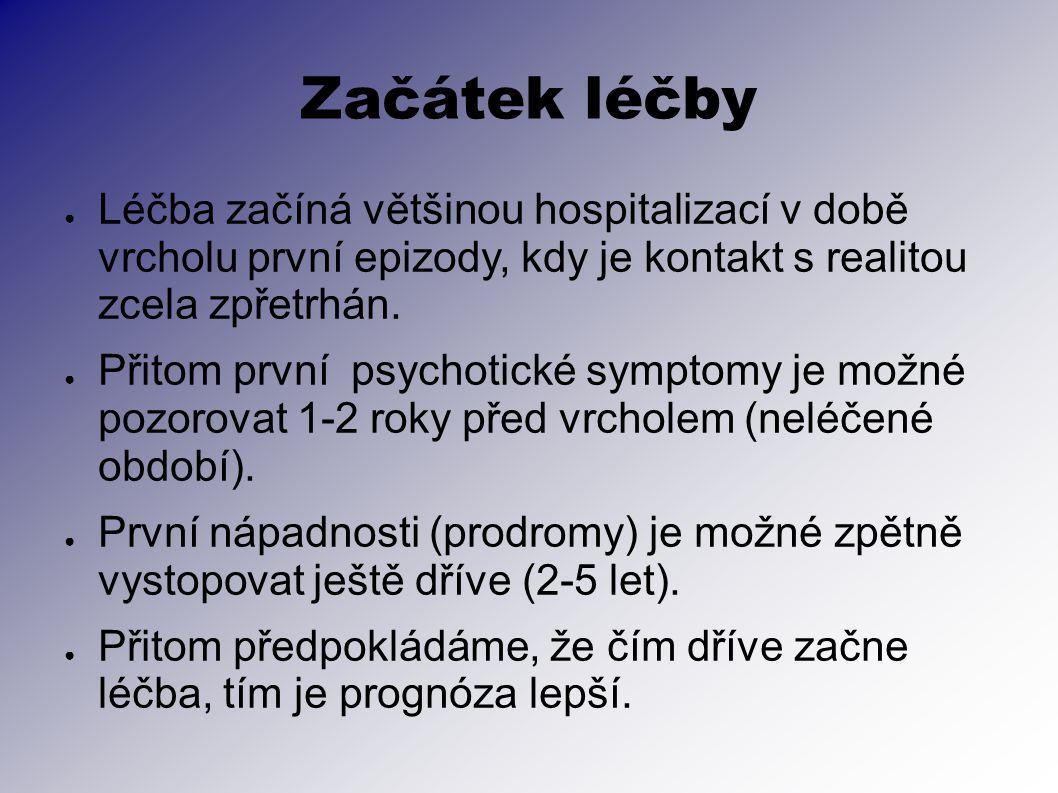 Začátek léčby ● Léčba začíná většinou hospitalizací v době vrcholu první epizody, kdy je kontakt s realitou zcela zpřetrhán. ● Přitom první psychotick