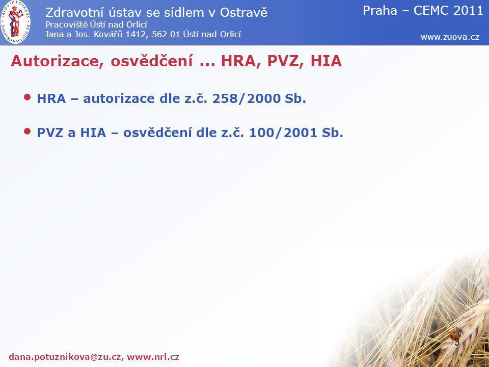 Autorizace, osvědčení... HRA, PVZ, HIA HRA – autorizace dle z.č. 258/2000 Sb. PVZ a HIA – osvědčení dle z.č. 100/2001 Sb. dana.potuznikova@zu.cz, www.