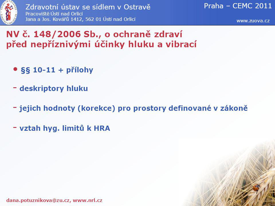 NV č. 148/2006 Sb., o ochraně zdraví před nepříznivými účinky hluku a vibrací §§ 10-11 + přílohy - deskriptory hluku - jejich hodnoty (korekce) pro pr