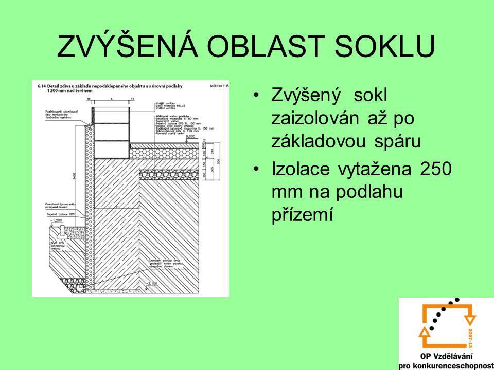 ZVÝŠENÁ OBLAST SOKLU Zvýšený sokl zaizolován až po základovou spáru Izolace vytažena 250 mm na podlahu přízemí