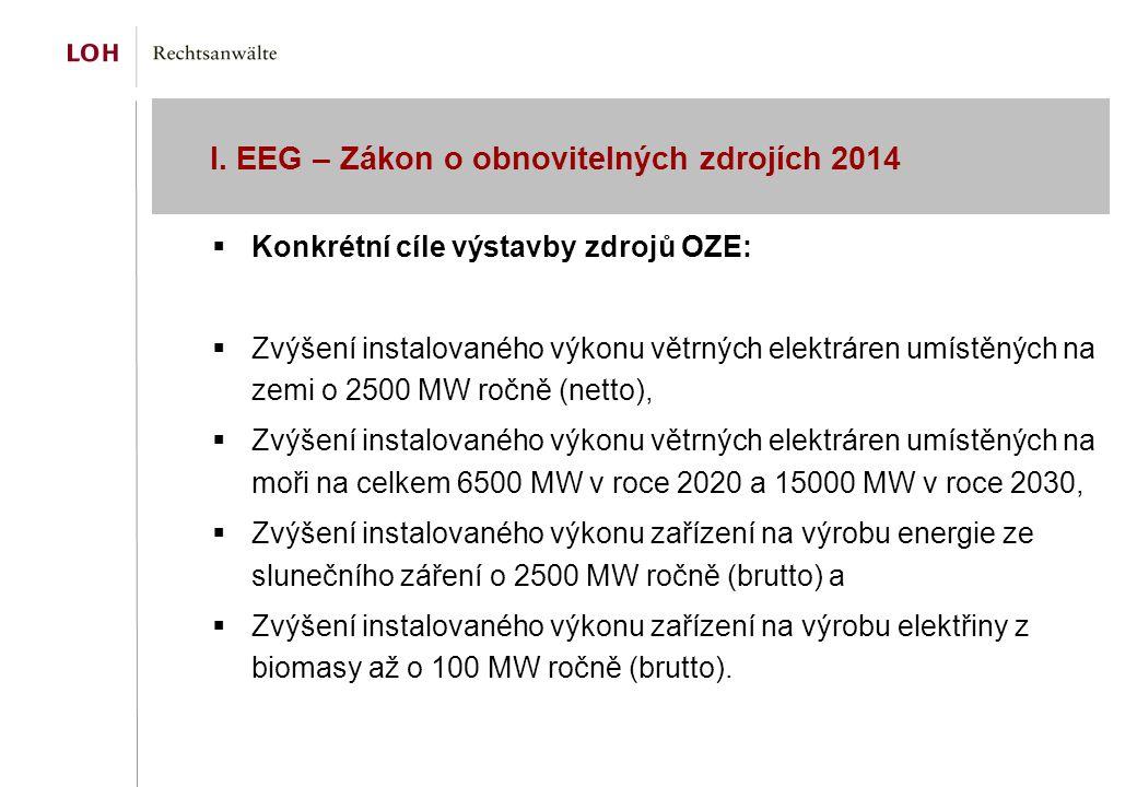I. EEG – Zákon o obnovitelných zdrojích 2014  Konkrétní cíle výstavby zdrojů OZE:  Zvýšení instalovaného výkonu větrných elektráren umístěných na ze