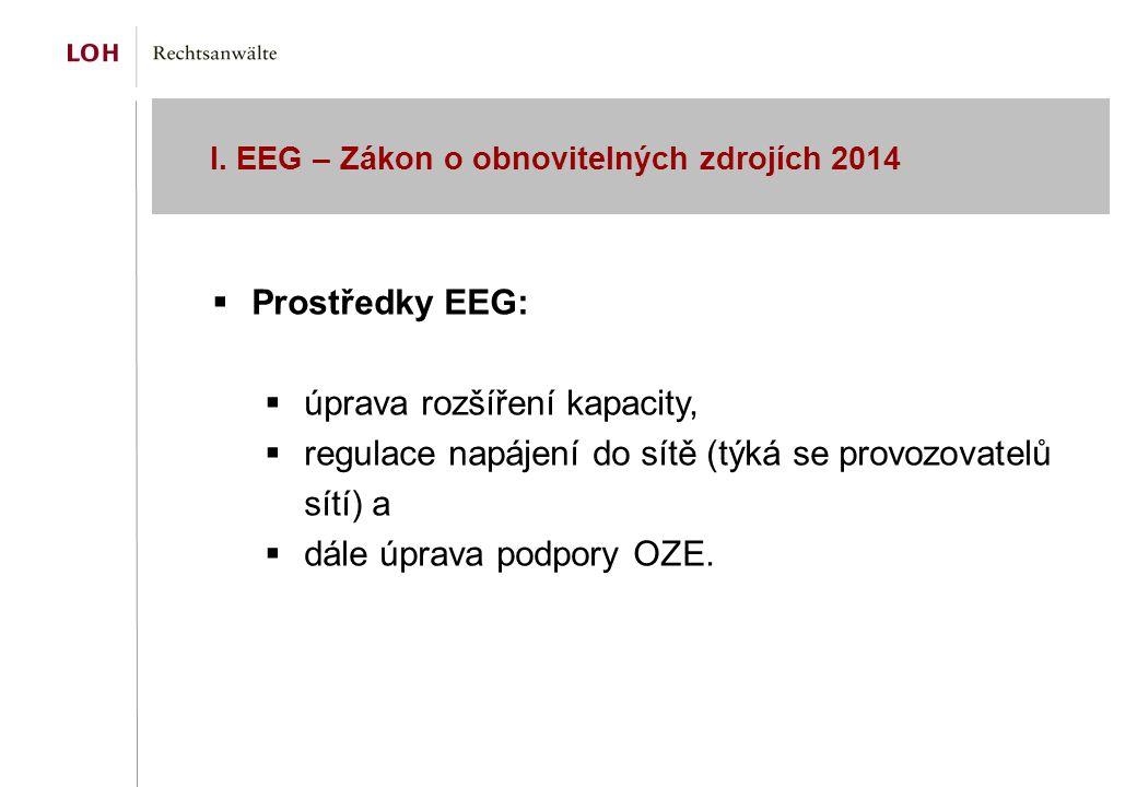 I. EEG – Zákon o obnovitelných zdrojích 2014  Prostředky EEG:  úprava rozšíření kapacity,  regulace napájení do sítě (týká se provozovatelů sítí) a