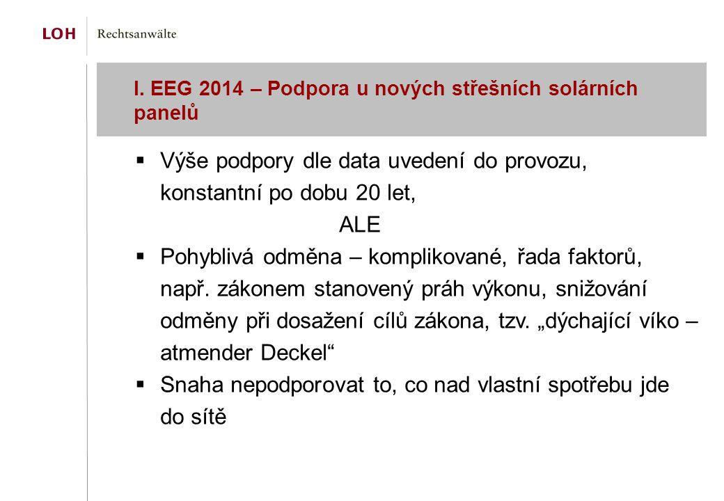 I. EEG 2014 – Podpora u nových střešních solárních panelů  Výše podpory dle data uvedení do provozu, konstantní po dobu 20 let, ALE  Pohyblivá odměn