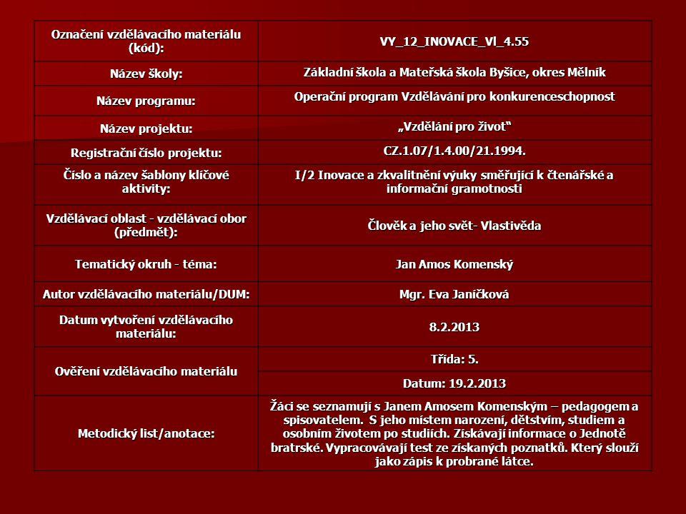 Označení vzdělávacího materiálu (kód): VY_12_INOVACE_Vl_4.55 Název školy: Základní škola a Mateřská škola Byšice, okres Mělník Název programu: Operačn