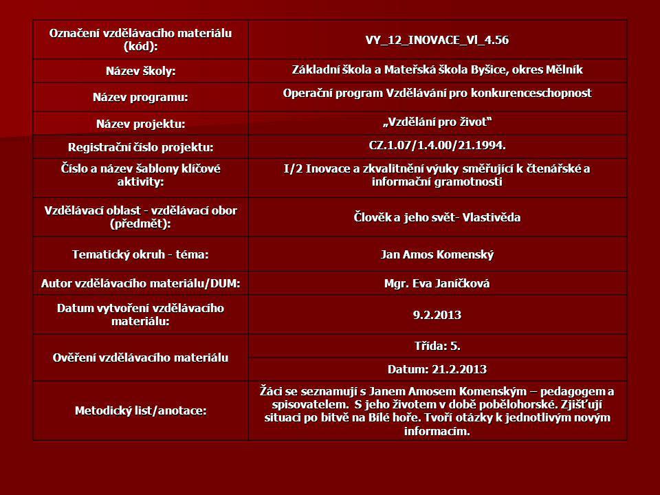Použitá literatura Renáta Fučíková: Jan Amos Komenský, Práh 2008, ISBN 978 – 80 – 7252-249-4 http://cs.wikipedia.org/wiki/Soubor:Johan_amos_comenius_1592-1671.jpg http://procproto.cz/historie/bitva-na-bile-hore-vsechno-bylo-jinak http://upload.wikimedia.org/wikipedia/commons/4/48/Schlacht_am_Wei%C3%9Fen_Berg_C-K_063.jpg http://cs.wikipedia.org/wiki/Soubor:Justus_Sustermans_015.jpg http://upload.wikimedia.org/wikipedia/commons/3/39/Labyrint_sv%C4%9Bta.jpg http://cs.wikipedia.org/wiki/Labyrint_sv%C4%9Bta_a_r%C3%A1j_srdce http://cs.wikipedia.org/wiki/Soubor:Labyrint_sveta.jpg http://ireferaty.cz/100/4414/Jan-Amos-Komensky-