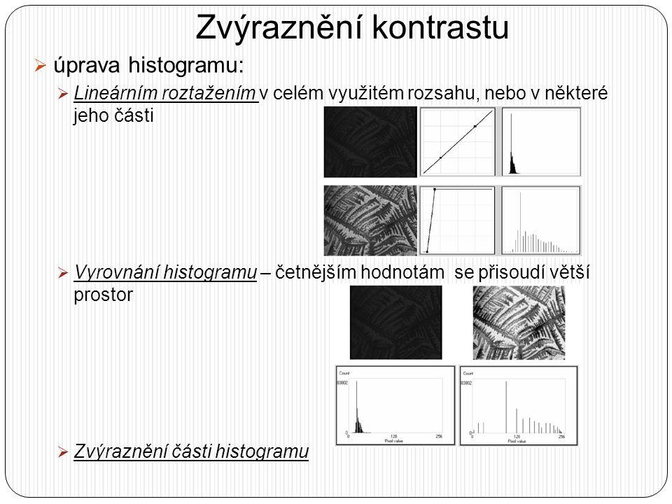 Zvýraznění kontrastu  úprava histogramu:  Lineárním roztažením v celém využitém rozsahu, nebo v některé jeho části  Vyrovnání histogramu – četnější