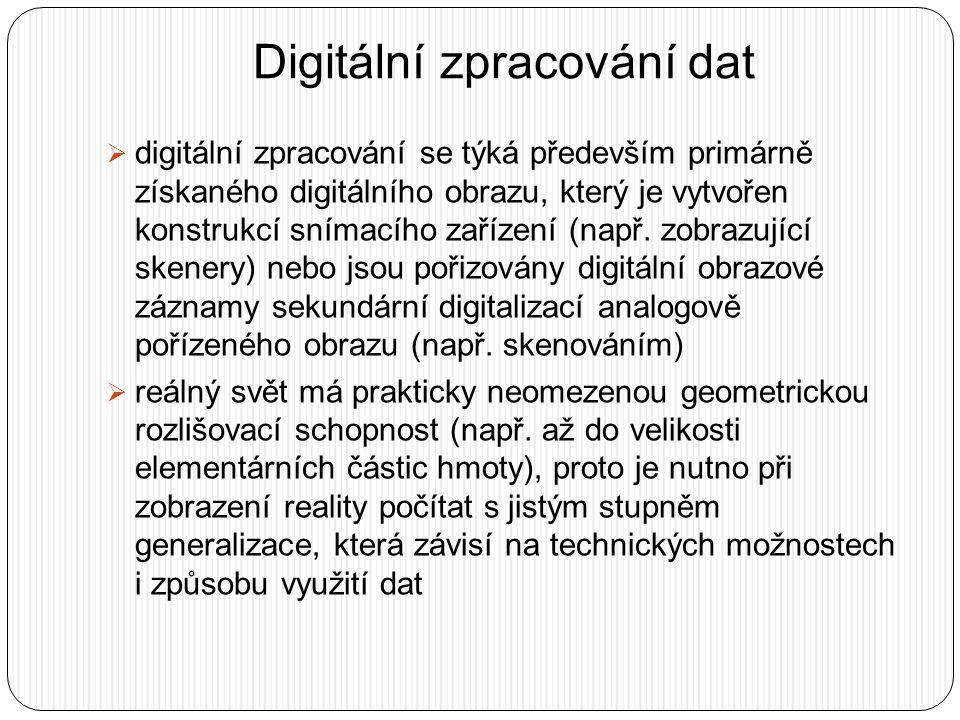Digitální zpracování dat  digitální zpracování se týká především primárně získaného digitálního obrazu, který je vytvořen konstrukcí snímacího zaříze