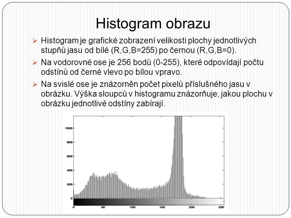 Histogram obrazu  Histogram je grafické zobrazení velikosti plochy jednotlivých stupňů jasu od bílé (R,G,B=255) po černou (R,G,B=0).  Na vodorovné o