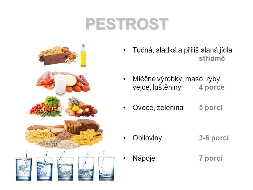 PESTROST Tučná, sladká a příliš slaná jídla střídmě Mléčné výrobky, maso, ryby, vejce, luštěniny 4 porce Ovoce, zelenina5 porcí Obiloviny3-6 porcí Nápoje 7 porcí