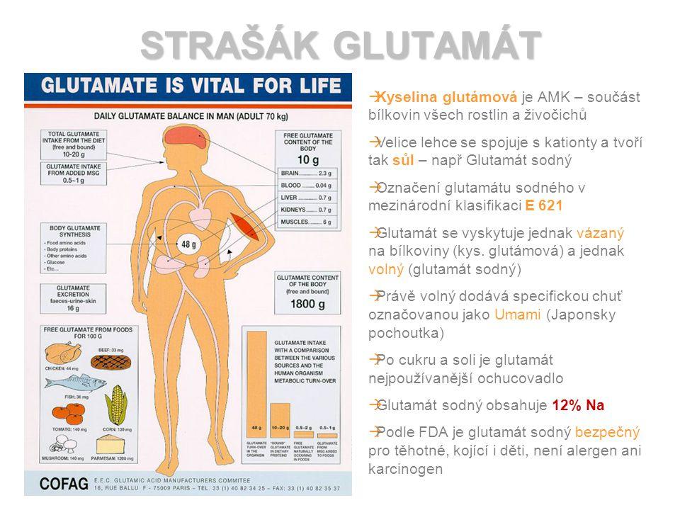 STRAŠÁK GLUTAMÁT   Kyselina glutámová je AMK – součást bílkovin všech rostlin a živočichů   Velice lehce se spojuje s kationty a tvoří tak sůl – např Glutamát sodný   Označení glutamátu sodného v mezinárodní klasifikaci E 621   Glutamát se vyskytuje jednak vázaný na bílkoviny (kys.