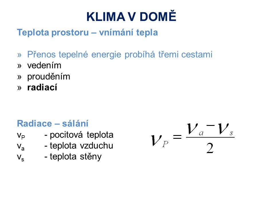 Teplota prostoru – vnímání tepla »Přenos tepelné energie probíhá třemi cestami »vedením »prouděním »radiací Radiace – sálání ν P - pocitová teplota ν a - teplota vzduchu ν s - teplota stěny KLIMA V DOMĚ