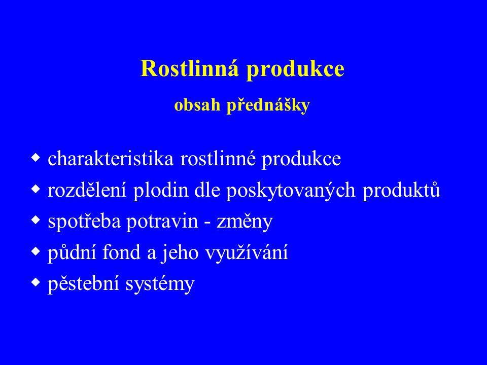 Rostlinná produkce obsah přednášky  charakteristika rostlinné produkce  rozdělení plodin dle poskytovaných produktů  spotřeba potravin - změny  pů