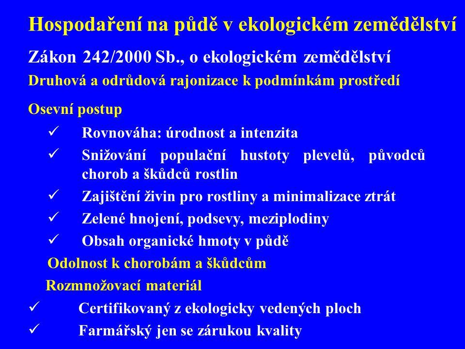 Hospodaření na půdě v ekologickém zemědělství Zákon 242/2000 Sb., o ekologickém zemědělství Druhová a odrůdová rajonizace k podmínkám prostředí Osevní