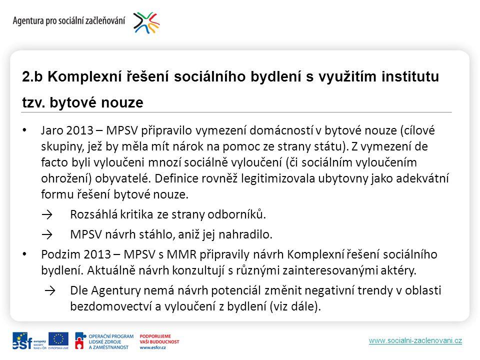 www.socialni-zaclenovani.cz 2.b Komplexní řešení sociálního bydlení s využitím institutu tzv. bytové nouze Jaro 2013 – MPSV připravilo vymezení domácn