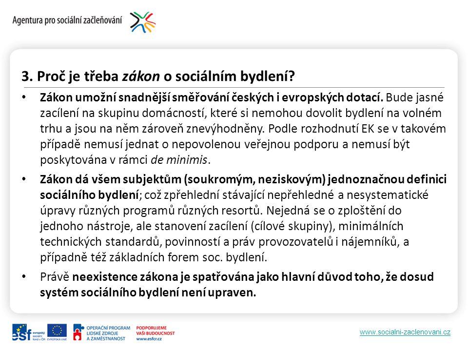 www.socialni-zaclenovani.cz 3. Proč je třeba zákon o sociálním bydlení.