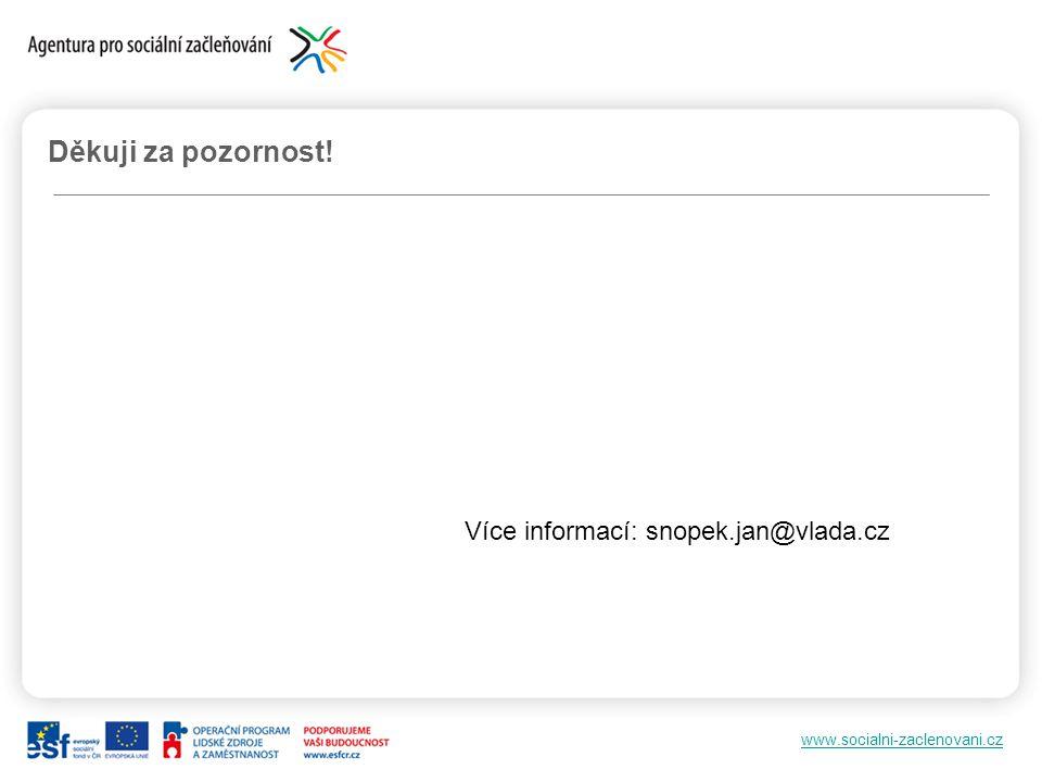 www.socialni-zaclenovani.cz Děkuji za pozornost! Více informací: snopek.jan@vlada.cz
