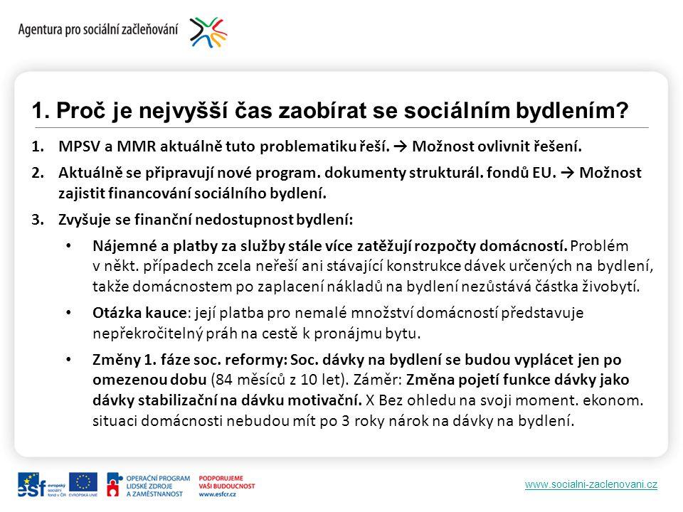 www.socialni-zaclenovani.cz 1. Proč je nejvyšší čas zaobírat se sociálním bydlením? 1.MPSV a MMR aktuálně tuto problematiku řeší. → Možnost ovlivnit ř