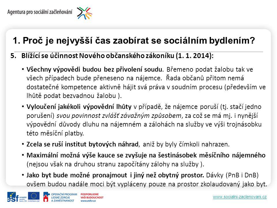 www.socialni-zaclenovani.cz 1. Proč je nejvyšší čas zaobírat se sociálním bydlením? 5. Blížící se účinnost Nového občanského zákoníku (1. 1. 2014): Vš