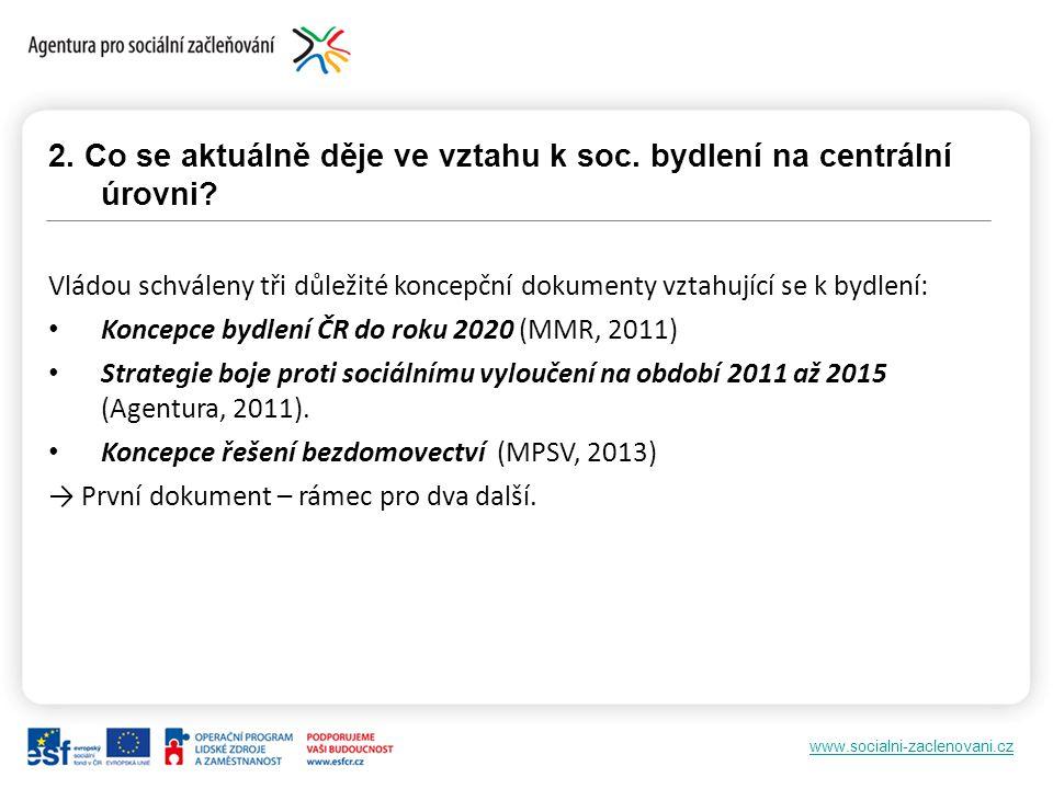 www.socialni-zaclenovani.cz 2. Co se aktuálně děje ve vztahu k soc. bydlení na centrální úrovni? Vládou schváleny tři důležité koncepční dokumenty vzt