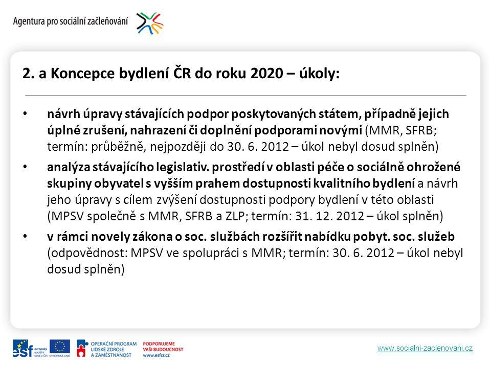 www.socialni-zaclenovani.cz 2. a Koncepce bydlení ČR do roku 2020 – úkoly: návrh úpravy stávajících podpor poskytovaných státem, případně jejich úplné