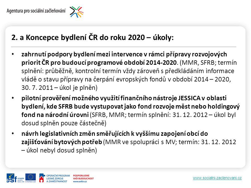 www.socialni-zaclenovani.cz 2. a Koncepce bydlení ČR do roku 2020 – úkoly: zahrnutí podpory bydlení mezi intervence v rámci přípravy rozvojových prior
