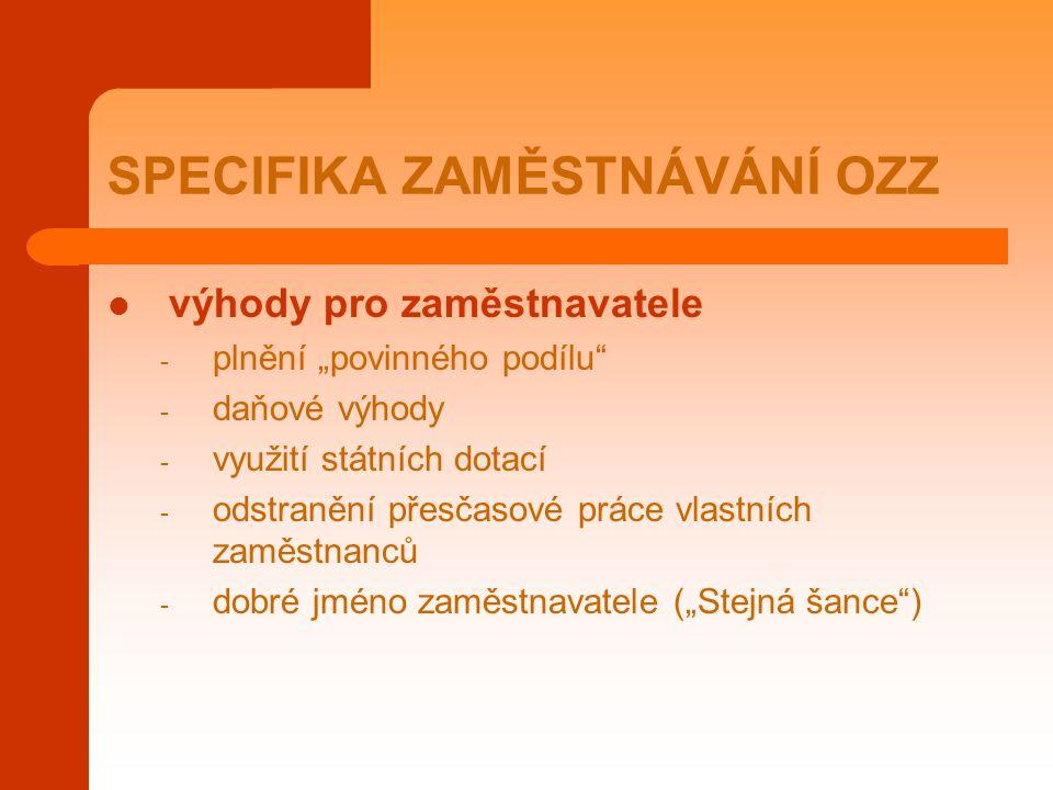 """SPECIFIKA ZAMĚSTNÁVÁNÍ OZZ výhody pro zaměstnavatele - plnění """"povinného podílu"""" - daňové výhody - využití státních dotací - odstranění přesčasové prá"""