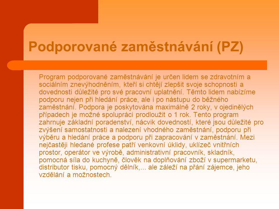 Podporované zaměstnávání (PZ) Program podporované zaměstnávání je určen lidem se zdravotním a sociálním znevýhodněním, kteří si chtějí zlepšit svoje s