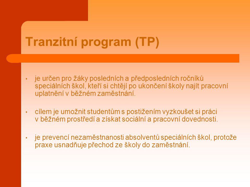 Tranzitní program (TP) je určen pro žáky posledních a předposledních ročníků speciálních škol, kteří si chtějí po ukončení školy najít pracovní uplatn
