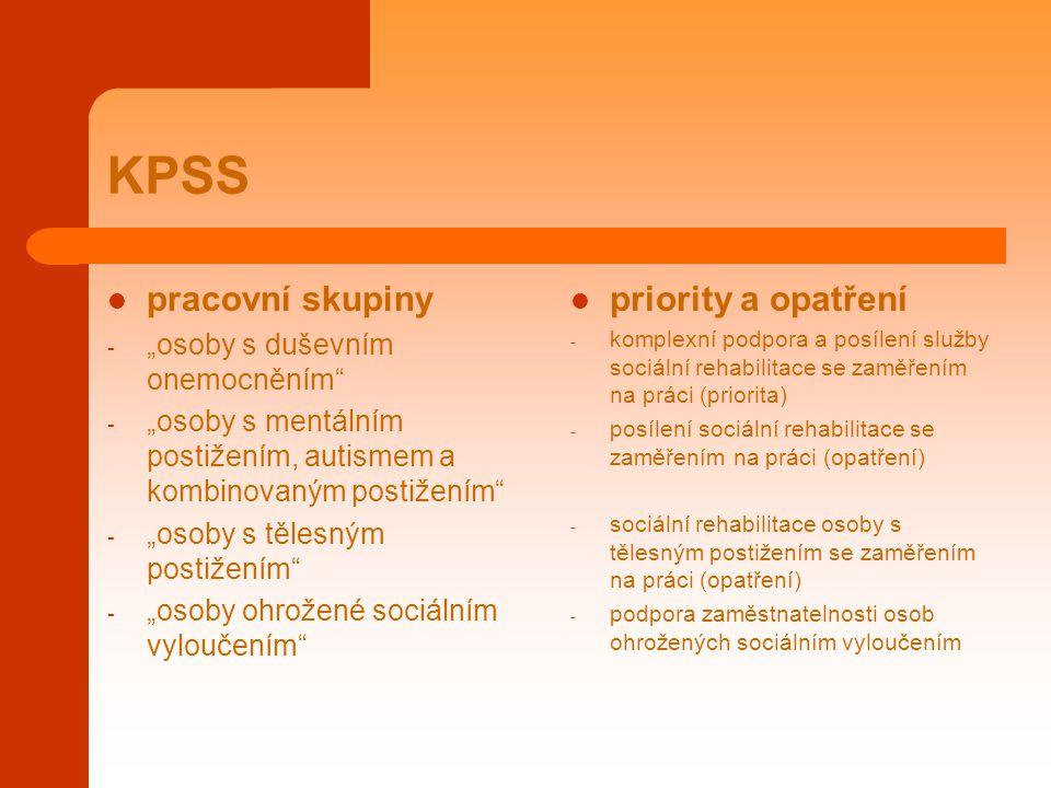 """KPSS pracovní skupiny - """"osoby s duševním onemocněním"""" - """"osoby s mentálním postižením, autismem a kombinovaným postižením"""" - """"osoby s tělesným postiž"""