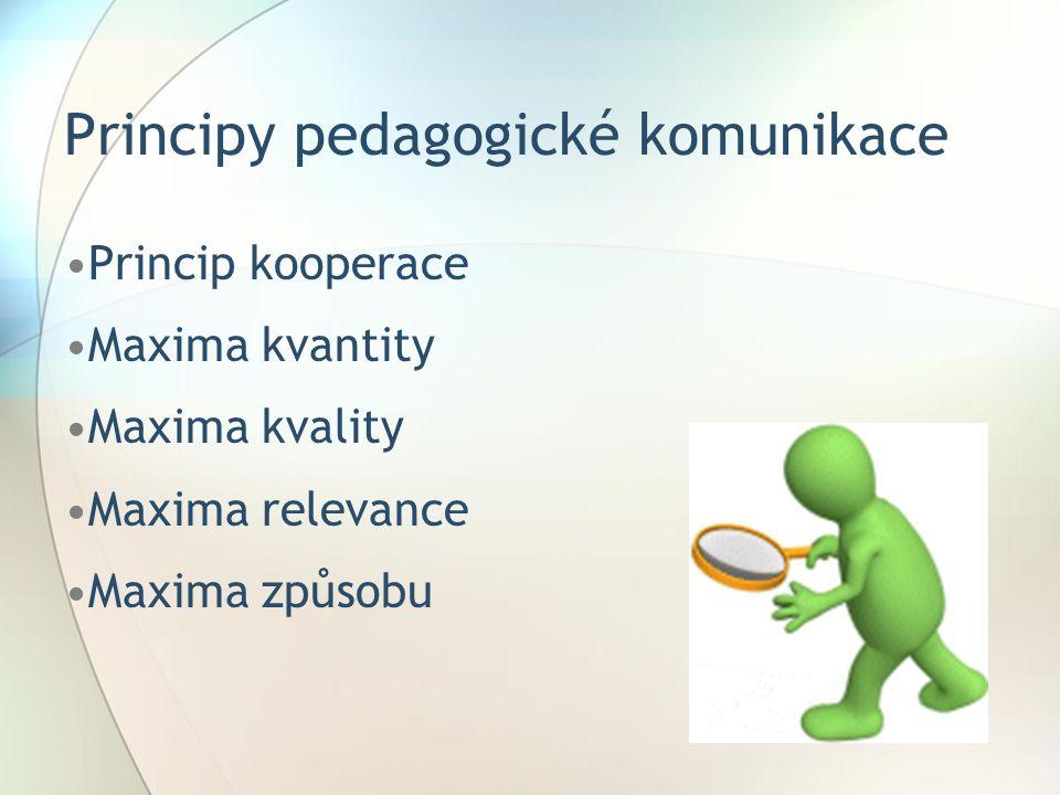 Principy pedagogické komunikace Princip kooperace Maxima kvantity Maxima kvality Maxima relevance Maxima způsobu