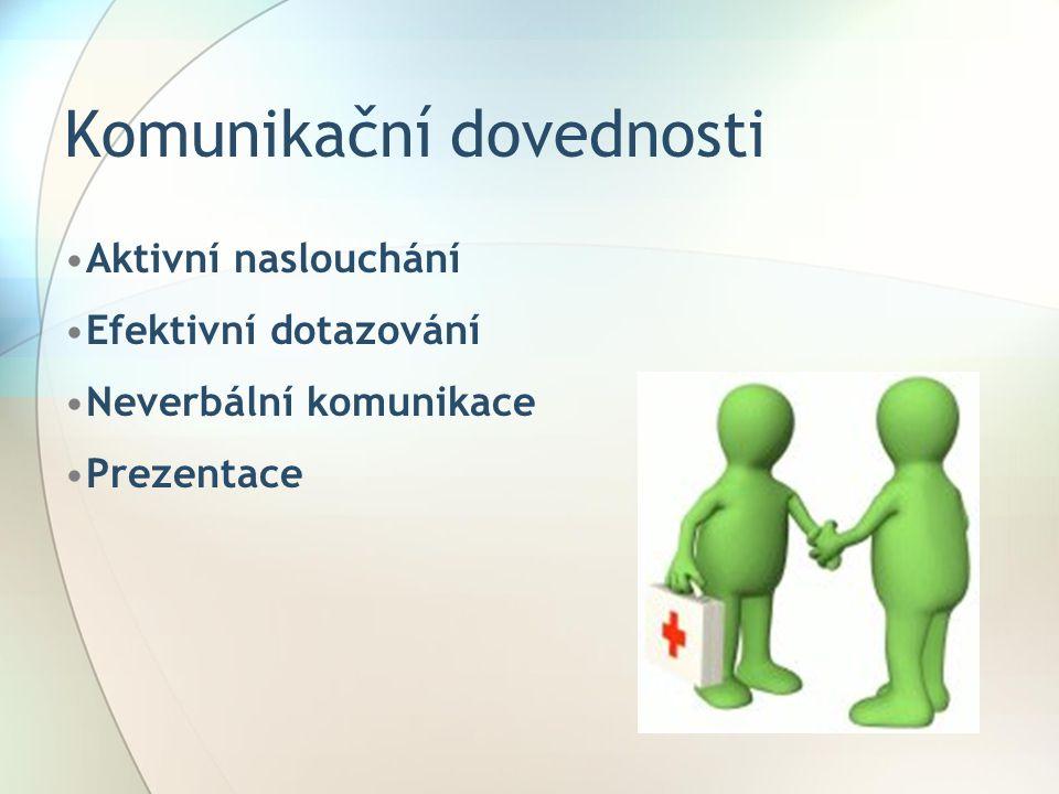 Komunikační dovednosti Aktivní naslouchání Efektivní dotazování Neverbální komunikace Prezentace