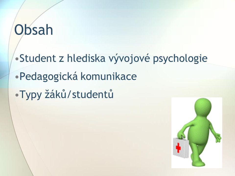 Obsah Student z hlediska vývojové psychologie Pedagogická komunikace Typy žáků/studentů