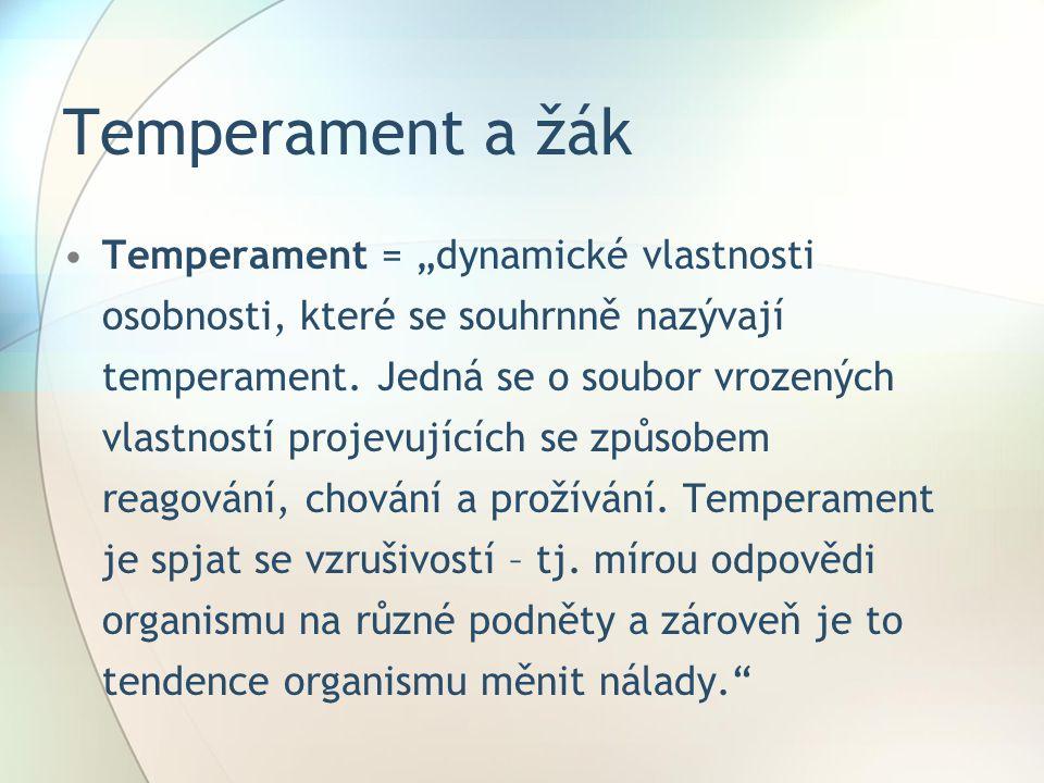 """Temperament a žák Temperament = """"dynamické vlastnosti osobnosti, které se souhrnně nazývají temperament."""