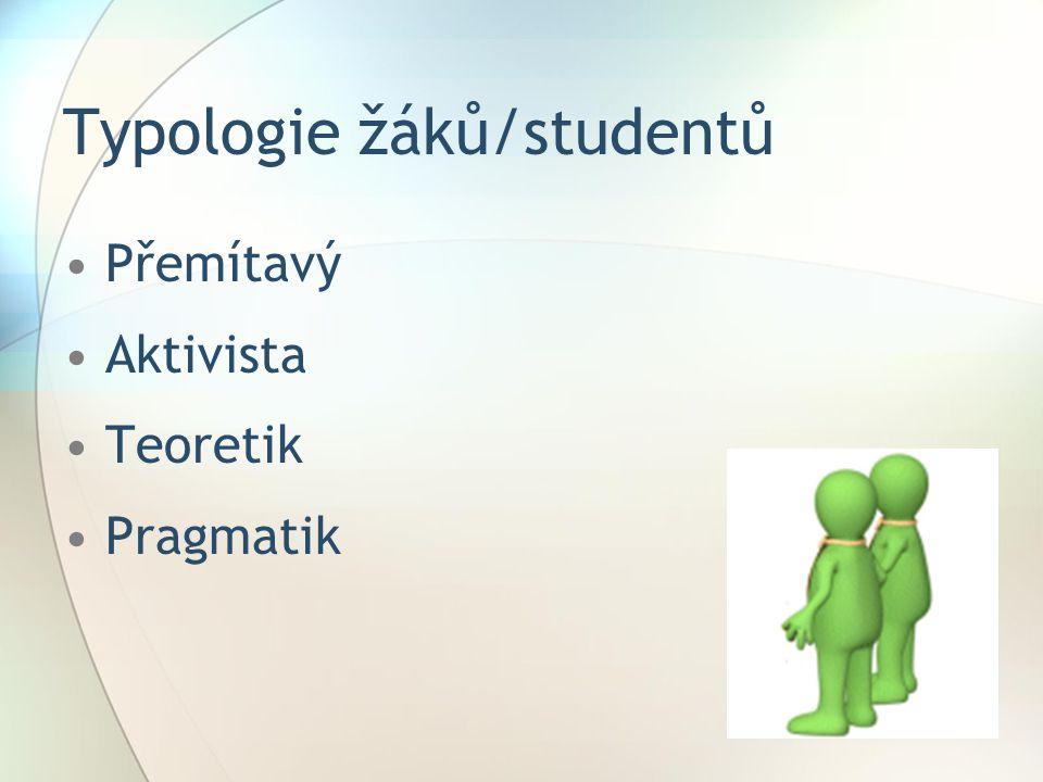 Typologie žáků/studentů Přemítavý Aktivista Teoretik Pragmatik
