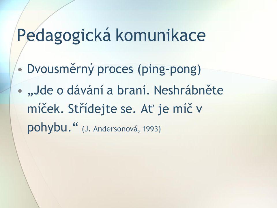 """Pedagogická komunikace Dvousměrný proces (ping-pong) """"Jde o dávání a braní."""