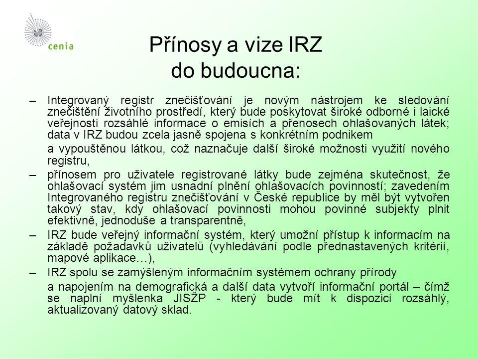 Přínosy a vize IRZ do budoucna: –Integrovaný registr znečišťování je novým nástrojem ke sledování znečištění životního prostředí, který bude poskytova