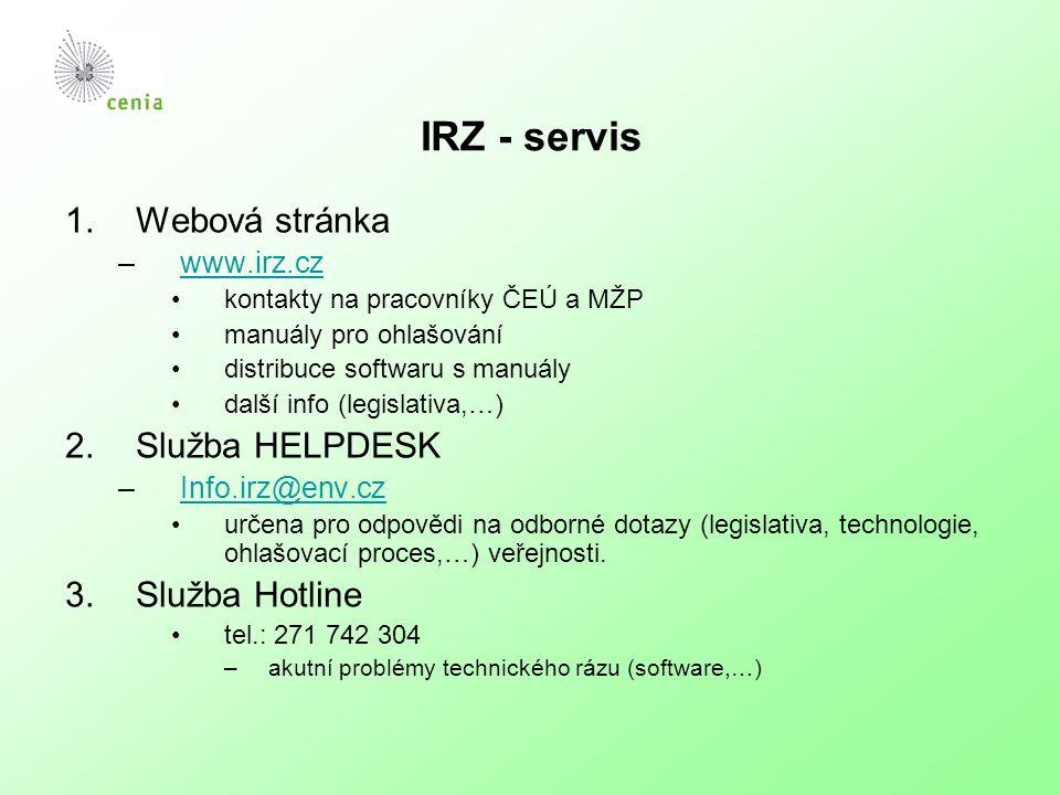 IRZ - servis 1.Webová stránka –www.irz.czwww.irz.cz kontakty na pracovníky ČEÚ a MŽP manuály pro ohlašování distribuce softwaru s manuály další info (legislativa,…) 2.Služba HELPDESK –Info.irz@env.czInfo.irz@env.cz určena pro odpovědi na odborné dotazy (legislativa, technologie, ohlašovací proces,…) veřejnosti.